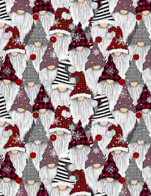 £7.99 • Buy CHRISTMAS HOLIDAY GNOMES By Timeless Treasures Fabric 100% Cotton - FESTIVE
