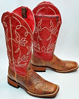 $99.77 • Buy Macie Bean Western Boots Women Sz 6 M, Brown Tooled Leather Zip Pocket Red M9106