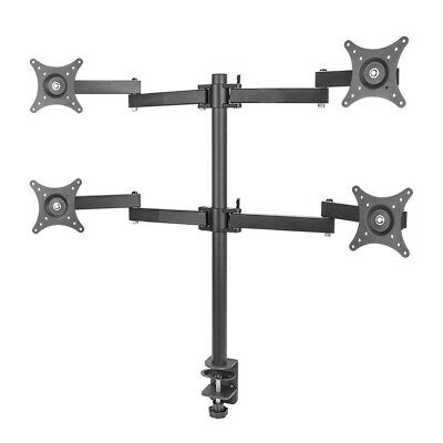 """£37.95 • Buy Quad Four Arm Desk Mount Bracket LCD Computer Monitor Stand 13""""-27"""" Screen TV"""