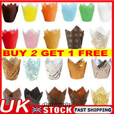 £3.25 • Buy 50PCS Cupcake Wrapper Baking Liners Muffin Cup Tulip Case Cake Paper Kitchen UK