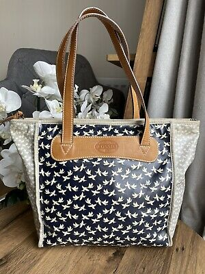 £35 • Buy Fossil Key Per Tote Bags With Leather Handles Shoulder Shopper Bag - Bird Print