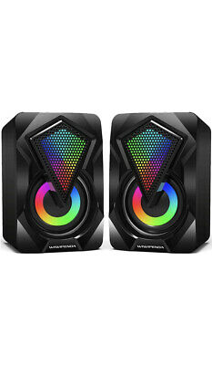 £5.75 • Buy Surround Sound System LED PC Speakers Gaming Bass USB Wired For Desktop Computer