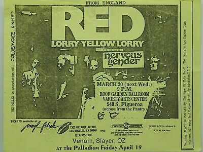 $14.95 • Buy Red Lorry Yellow Lorry Nervous Gender La Variety Arts Center Punk Concert Poster