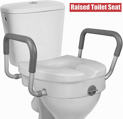 £44.99 • Buy Economy Raised Toilet Seat, With Lock And Padded Arms 350lbs
