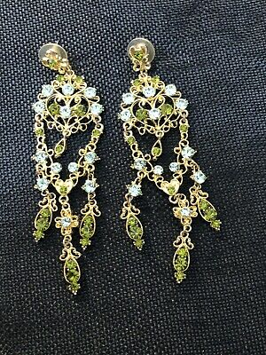 """£4.53 • Buy Chandelier Earrings Blue And Green Stones In Gold Tone 4 1/2"""" Long Light Weight"""