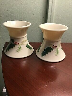 £18.40 • Buy Holly Painted By Belleek Pottery Ireland Pair Of Candlestick Holders Christmas