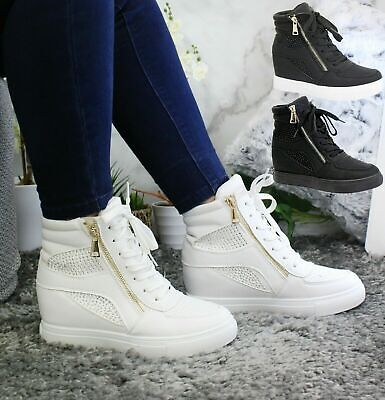 £17.95 • Buy Diamante Hidden Wedge Sneakers High Top Trainers Womens Ladies Ankle Boots Shoes
