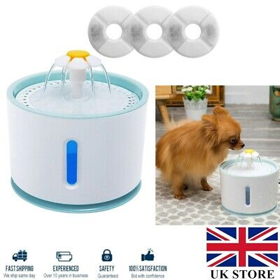 £17.59 • Buy 2.4L USB LED Automatic Electric Pet Water Fountain Drinking Dispenser + 3Filters