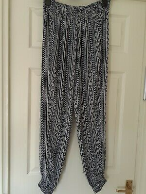 £11 • Buy Monsoon Ladies Small Harem Type Trousers Size Small Navy/white Pattern