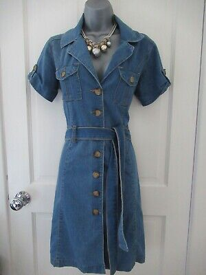 £5.50 • Buy Lovely Blue Denim Button Up Summer Holiday Everyday Casual Shirt Dress Sz 12