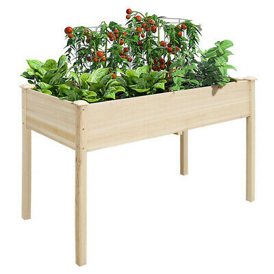 £20 • Buy Raised Garden Planter Solid Pine Wood Flower Bed Herb Grow Box Container UK NEW