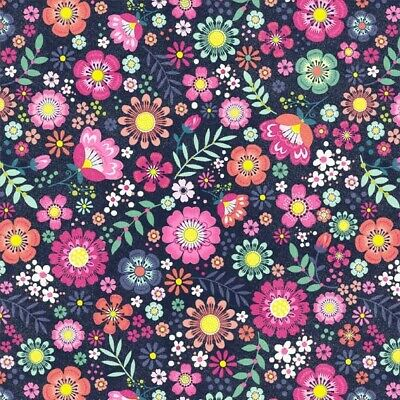 £8.49 • Buy Michael Miller Beautiful Summer Floral Navy Fabric 100% Cotton 1/2M