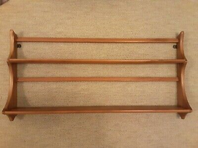 £45 • Buy Vintage Ercol Classic Two Tier Wall Hanging Plate Rack Display Shelving