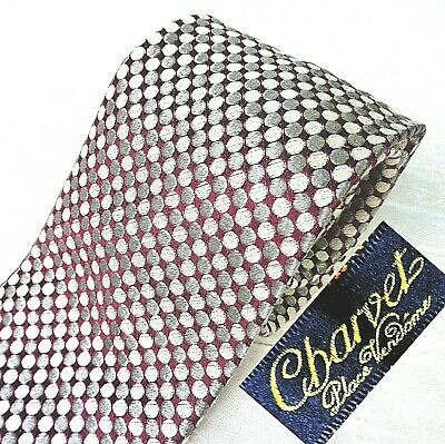 £44.60 • Buy NWOT CHARVET Made France Silk Blend Tie Glossy Blood Red + Silver Gray Circles