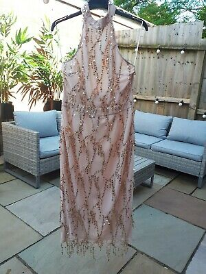 £5 • Buy Pink Boutique Halterneck Nude Midi Dress With Gold Sequins Size 12