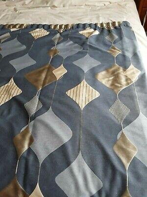£20 • Buy Montgomery Interior Fabric Fully Linned Blue&gold Curtains