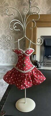 """£1.99 • Buy Pretty White Metal Jewellery Stand With Red Dress 16"""" Tall"""