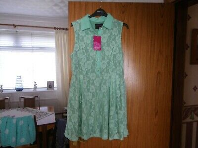 £3.50 • Buy Ruby Rocks Boutique Ladies Green Sleeveless Floral Detail Dress Size 16 Bnwt