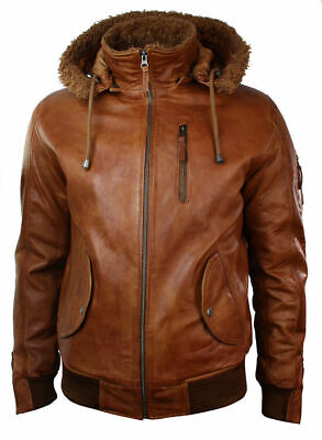 £141.26 • Buy Mens Retro Brown Hooded Fur Real Leather Bomber Jacket