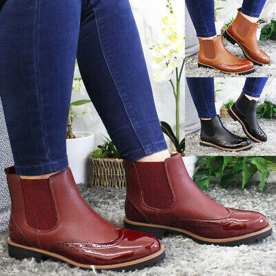 £19.95 • Buy Brogue Ankle Chelsea Boots Ladies Casual Flats Slip On Womens Winter Shoes Size