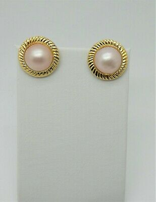 $395 • Buy Pink Mabe Pearl Earrings Bezel Set In 14k Yellow Gold With Omega Backs