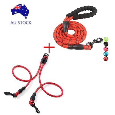 AU26 • Buy Double Dog Coupler Twin Lead 2 Way Strap Two Pet Dogs Walking Red Leash