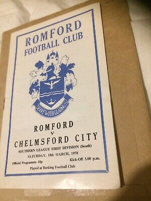 £1 • Buy Romford V Chelmsford City, Southern League, 1977-78 Programme.