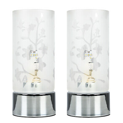 £24.99 • Buy Pair Of Touch Dimmer Table Lamps Floral Glass Design Chrome Bedside Lighting