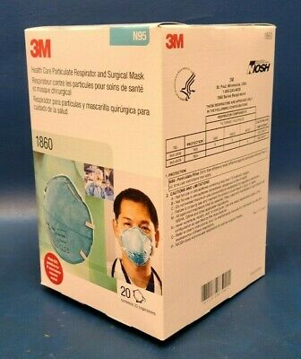 $29.99 • Buy Brand New, 3M Box Of 20 N95 1860 Facemask Respirator And Surgical Mask.