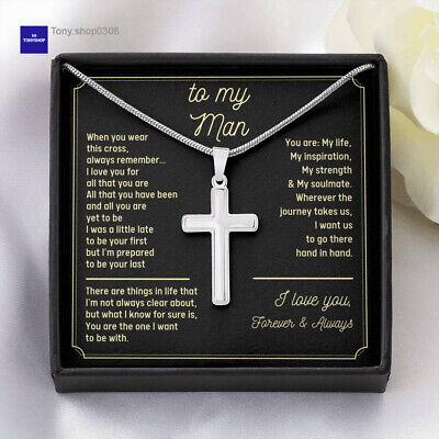 $29.95 • Buy To My Man Necklace, Anniversary Gift For Him, Gift For Boyfriend Christian Cross