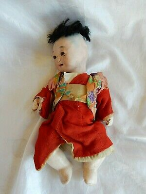 £12.99 • Buy Vintage Japanese Itchimatsu Composition 9 Inch Baby Boy Doll With Glass Eyes