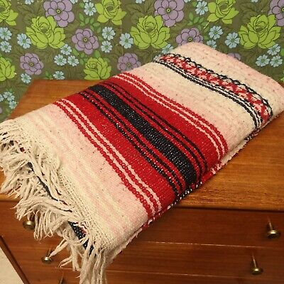 £10.50 • Buy Mexican Red/Pink/Navy Woven Stripy Falsa Yoga Blanket / Throw - Bobbly