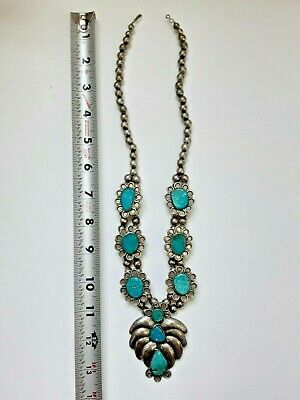 $ CDN239.81 • Buy Sterling Silver + Turquoise Navajo Squash Blossom Necklace Signed Lee Thompson