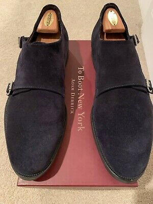 $40 • Buy To Boot New York Adam Derrick Navy Suede Monk Strap Dress Shoes - Size 12 M