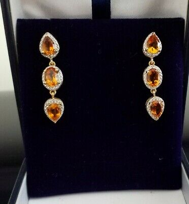 £58 • Buy Beautiful Madeira Citrine And Diamond Drop  Earrings 14ct Gold Over 925 Silver