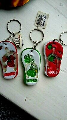 £1.99 • Buy  NEW With Tags. 3 X Different Flip Flop Sandals - Keyrings. Fruit Themes