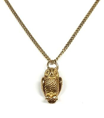 £36 • Buy .375 9ct YELLOW GOLD Owl Pendant On 925 GOLD PLATED Necklace, 18  4.44g - A23