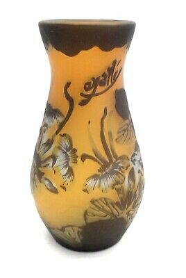 £180 • Buy EMILE GALLE Signed Glass Floral Painted VASE 15 Cm Tall - S28