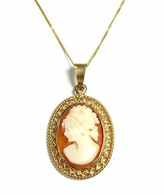 £31 • Buy .375 9ct YELLOW GOLD Oval Orange & White CAMEO Pendant Necklace, 16  3.04g - H48