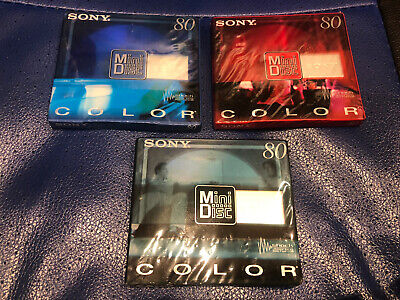 $16.50 • Buy 3 X BRAND NEW SONY COLOR 80 MINUTE BLANK SHOCK ABSORBING MINDISC STILL SEALED