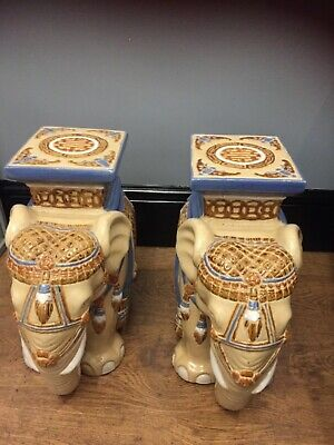 £99.99 • Buy Fabulous Large Vintage Indian Elephant Ceramic Pot Plant Stand Stool CAN DELIVER