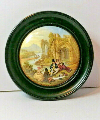 £25 • Buy Antique Victorian 1860 Prattware Ceramic Pot Lid Picnic With Family By Abbey