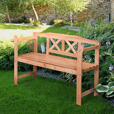 £69.99 • Buy Wooden Garden Bench Outdoor Classic 3 Seater Double Park Chair Patio Furniture