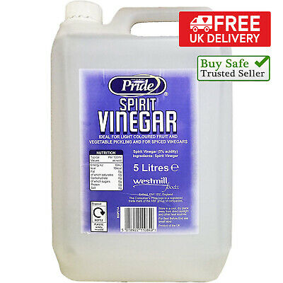 £9.88 • Buy Pride Distilled White Vinegar 5ltr With 5% Acidity Cleaning Cooking Pickling UK