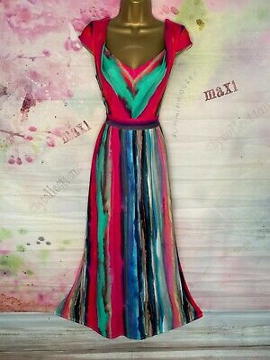 £8.27 • Buy Phase Eight Full Length Multicoloured Maxi Stretchy Pretty Dress Size 12