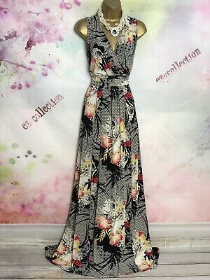 £9.50 • Buy Phase Eight Vibrant Full Length Black/white Floral Stretch Maxi Dress Size 14