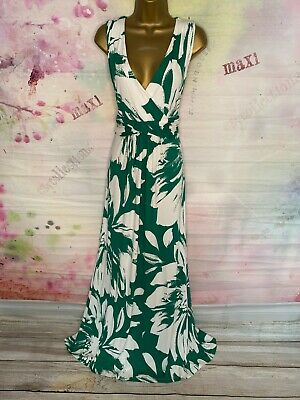 £26 • Buy Phase Eight Full Length Stretchy White/green Floral Jersey Maxi Dress Size 14