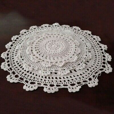 £3.46 • Buy Small Vintage Hand Crochet Doily Round Lace Tablecloth Table Mats Flower Pads