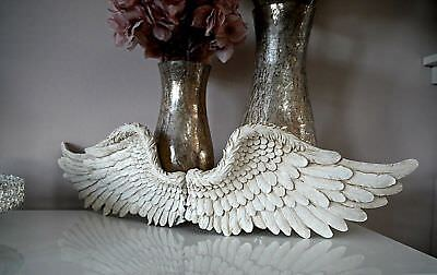 £3.20 • Buy Large Pair Of Angel Wings Ornate Vintage Wall Art Hanging Decoration White Cream