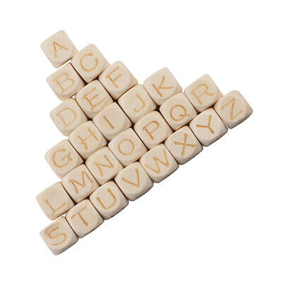 £3.92 • Buy 26 Pack Wooden Alphabet Beads Letter Bead For Toy Bracelet Jewelry DIY Craft